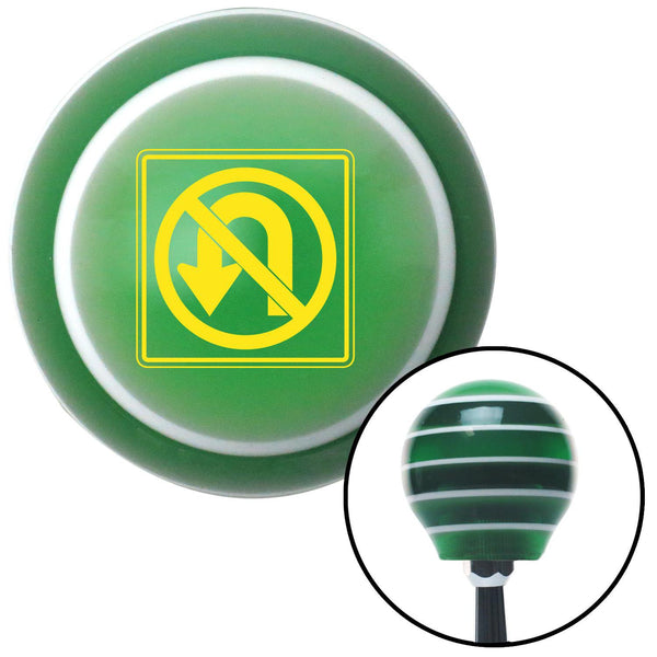 Yellow No UTurn Green Stripe Shift Knob with M16 x 15 Insert - American Shifter - Dropship Direct Wholesale