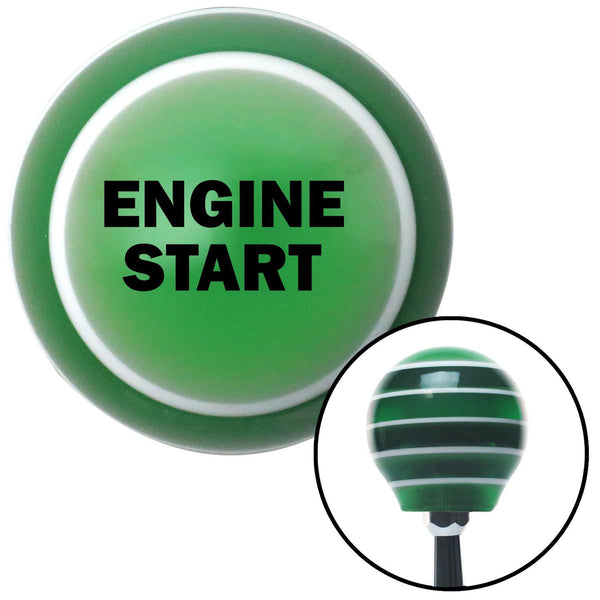 Black ENGINE START Green Stripe Shift Knob with M16 x 15 Insert - American Shifter - Dropship Direct Wholesale