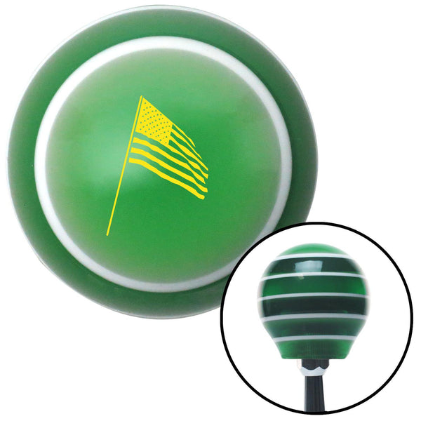Yellow American Flag Pole Green Stripe Shift Knob with M16 x 15 Insert - American Shifter - Dropship Direct Wholesale