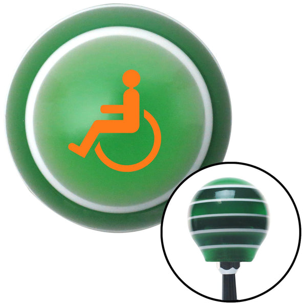 Orange Wheelchair Green Stripe Shift Knob with M16 x 15 Insert - American Shifter - Dropship Direct Wholesale