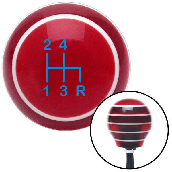 Blue Shift Pattern 1n Red Stripe Shift Knob with M16 x 15 Insert - American Shifter - Dropship Direct Wholesale