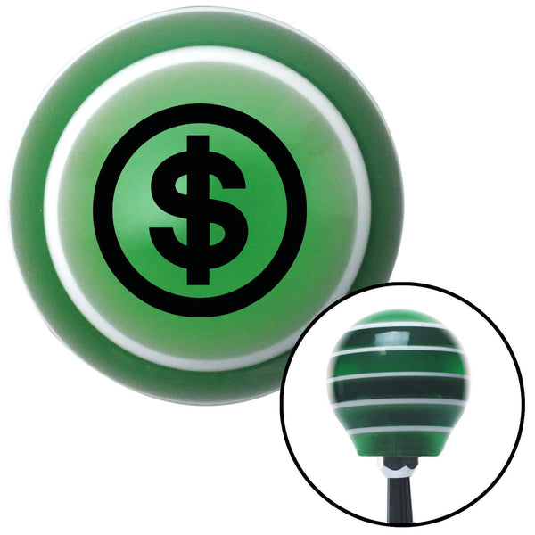 Black Money Green Stripe Shift Knob with M16 x 15 Insert - American Shifter - Dropship Direct Wholesale