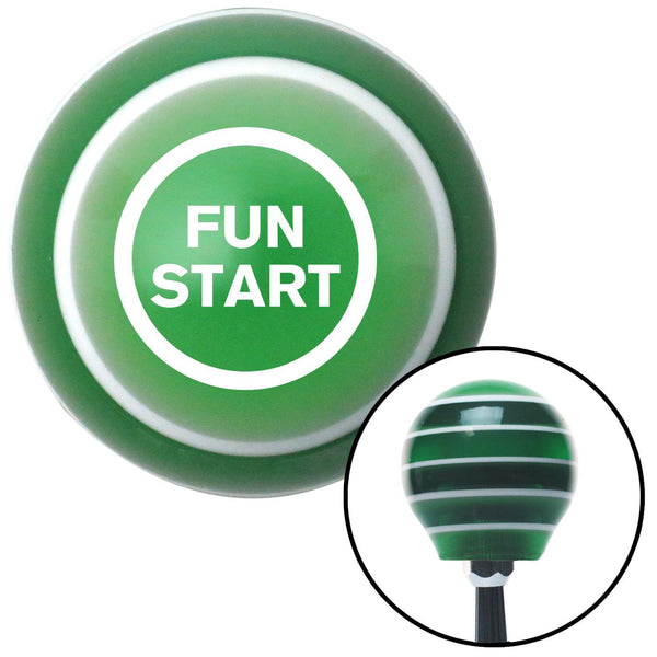 White Fun Start Green Stripe Shift Knob with M16 x 15 Insert - American Shifter - Dropship Direct Wholesale