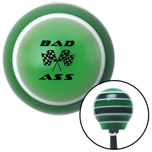Black Bad Ass Flags Green Stripe Shift Knob with M16 x 15 Insert - American Shifter - Dropship Direct Wholesale