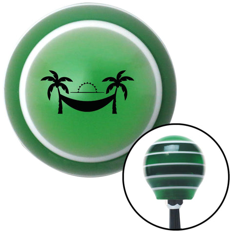 Black Hammock Scene Green Stripe Shift Knob with M16 x 15 Insert - American Shifter - Dropship Direct Wholesale