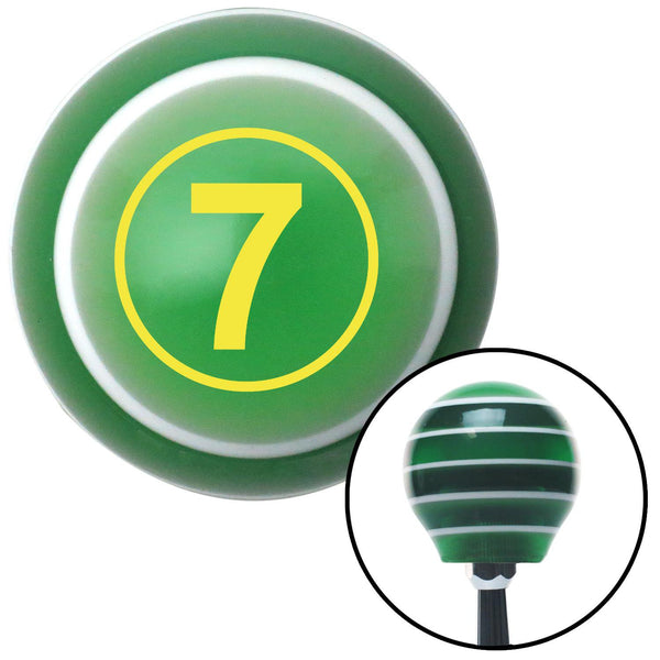 Yellow Ball 7 Green Stripe Shift Knob with M16 x 15 Insert - American Shifter - Dropship Direct Wholesale