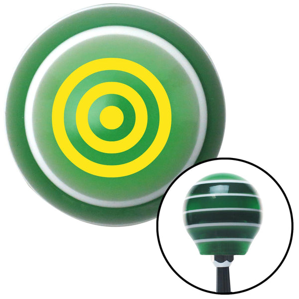 Yellow Bulls Eye Green Stripe Shift Knob with M16 x 15 Insert - American Shifter - Dropship Direct Wholesale