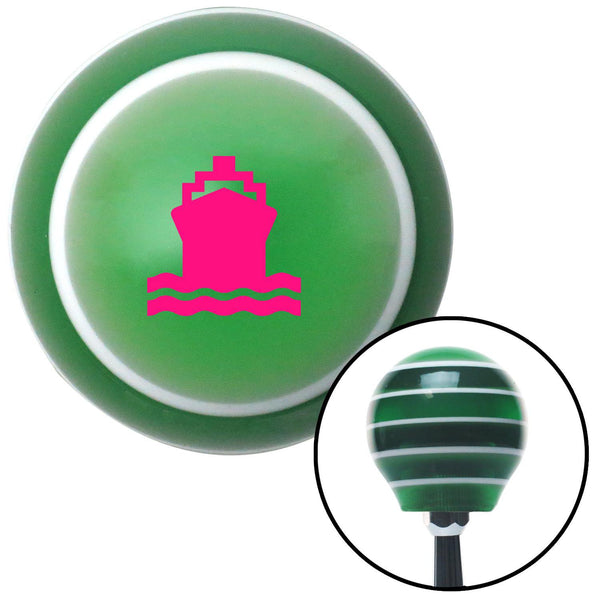 Pink Cruise Ship Green Stripe Shift Knob with M16 x 15 Insert - American Shifter - Dropship Direct Wholesale