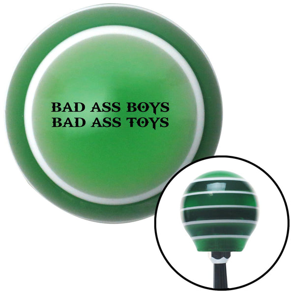 Black Bad Ass Boys Bad Ass Toys Green Stripe Shift Knob with M16 x 15 Insert - American Shifter - Dropship Direct Wholesale