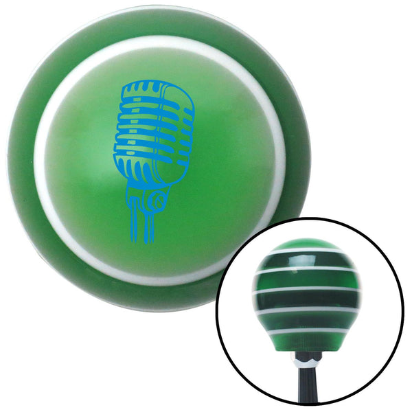 Blue Old School Microphone Green Stripe Shift Knob with M16 x 15 Insert - American Shifter - Dropship Direct Wholesale