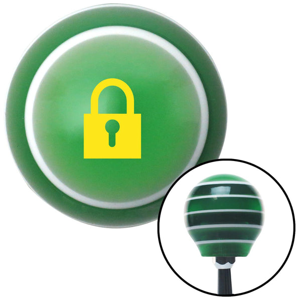 Yellow Locked Lock Green Stripe Shift Knob with M16 x 15 Insert - American Shifter - Dropship Direct Wholesale