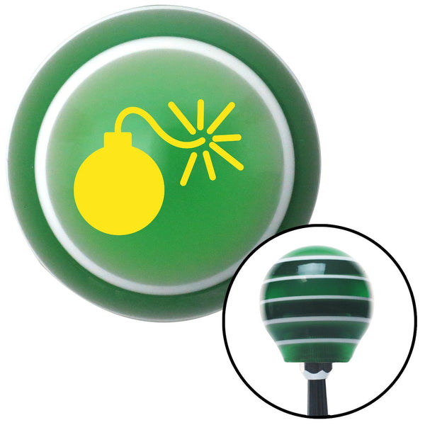 Yellow Bomb w Fuse Lit Green Stripe Shift Knob with M16 x 15 Insert - American Shifter - Dropship Direct Wholesale