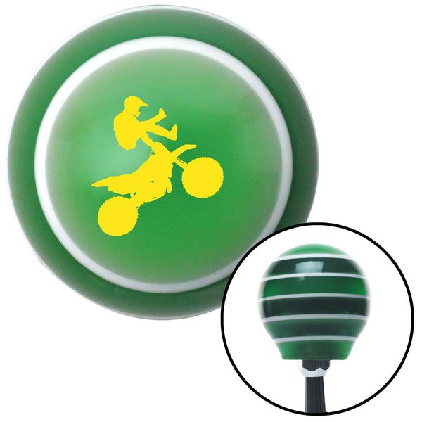 Yellow Motocross Rider Green Stripe Shift Knob with M16 x 15 Insert - American Shifter - Dropship Direct Wholesale