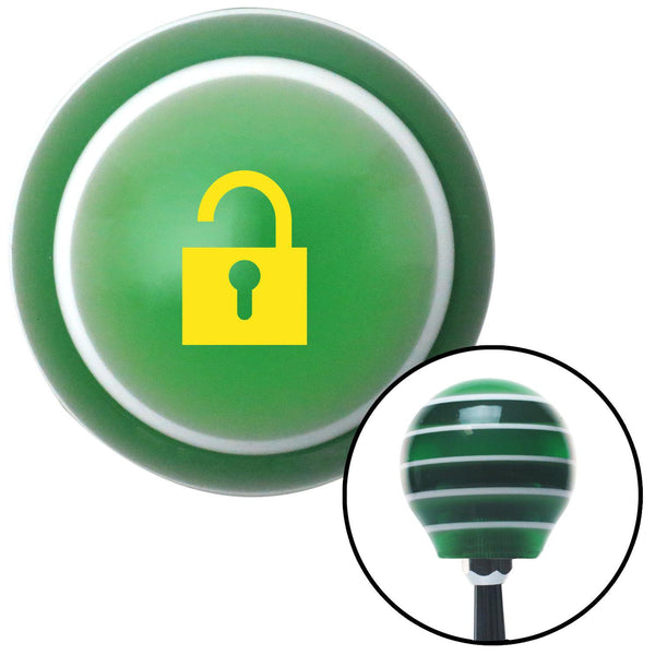 Yellow Unlocked Lock Green Stripe Shift Knob with M16 x 15 Insert - American Shifter - Dropship Direct Wholesale