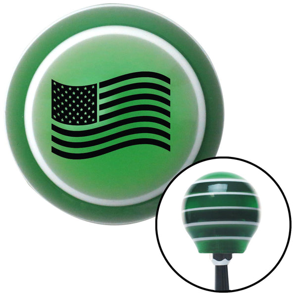 Black US Flag Green Stripe Shift Knob with M16 x 15 Insert - American Shifter - Dropship Direct Wholesale