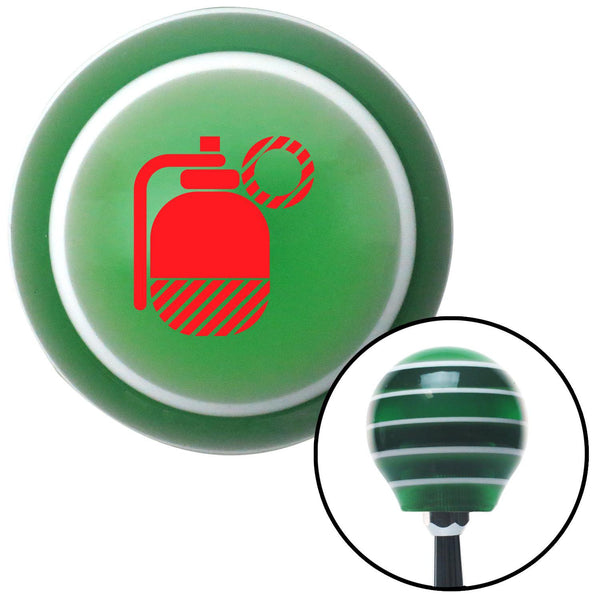 Red Grenade w Pin Green Stripe Shift Knob with M16 x 15 Insert - American Shifter - Dropship Direct Wholesale