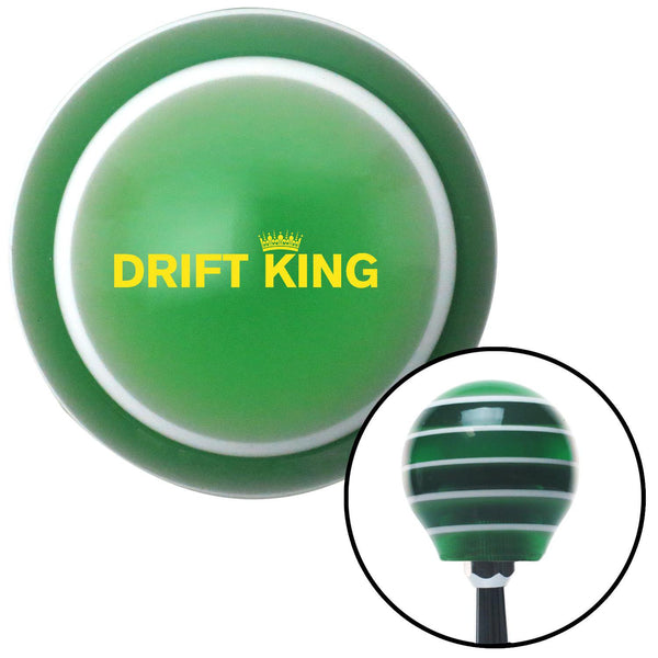 Yellow Drift King Green Stripe Shift Knob with M16 x 15 Insert - American Shifter - Dropship Direct Wholesale