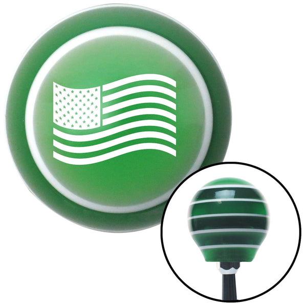 White US Flag Green Stripe Shift Knob with M16 x 15 Insert - American Shifter - Dropship Direct Wholesale