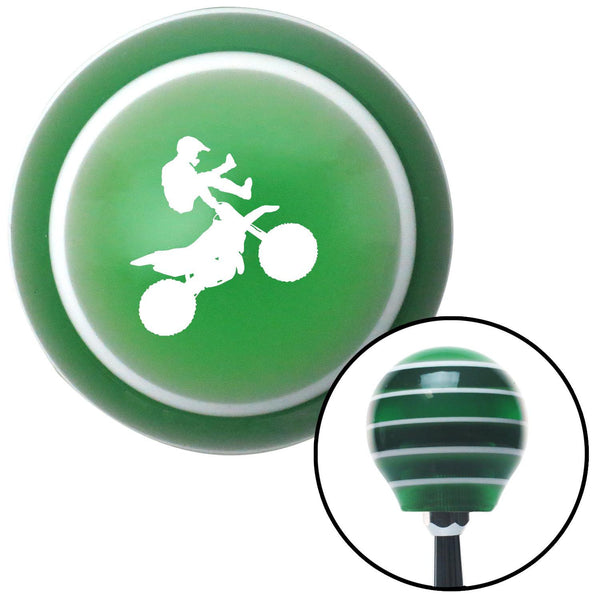 White Motocross Rider Green Stripe Shift Knob with M16 x 15 Insert - American Shifter - Dropship Direct Wholesale