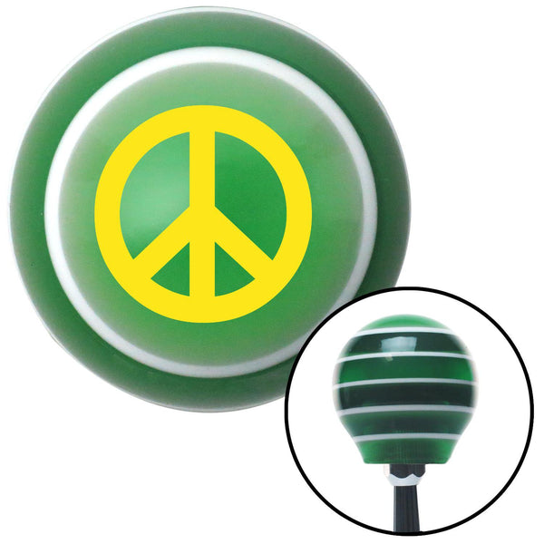 Yellow Peace Sign Green Stripe Shift Knob with M16 x 15 Insert - American Shifter - Dropship Direct Wholesale