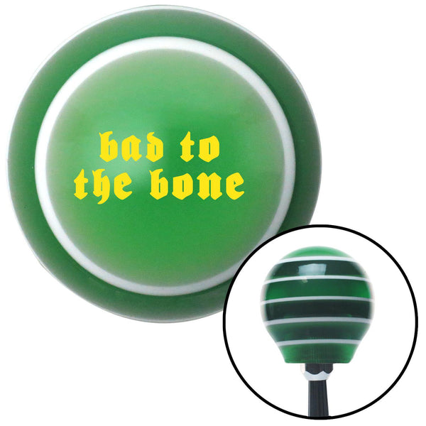 Yellow bad to the bone Green Stripe Shift Knob with M16 x 15 Insert - American Shifter - Dropship Direct Wholesale