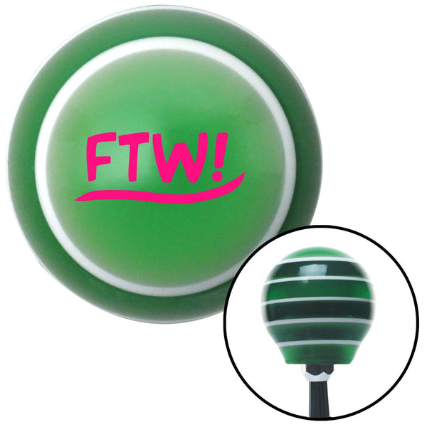 Pink FTW Green Stripe Shift Knob with M16 x 15 Insert - American Shifter - Dropship Direct Wholesale