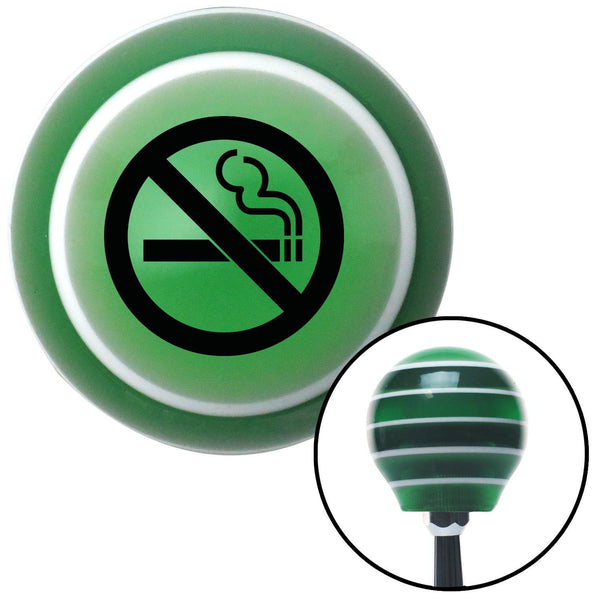 Black No Smoking Green Stripe Shift Knob with M16 x 15 Insert - American Shifter - Dropship Direct Wholesale