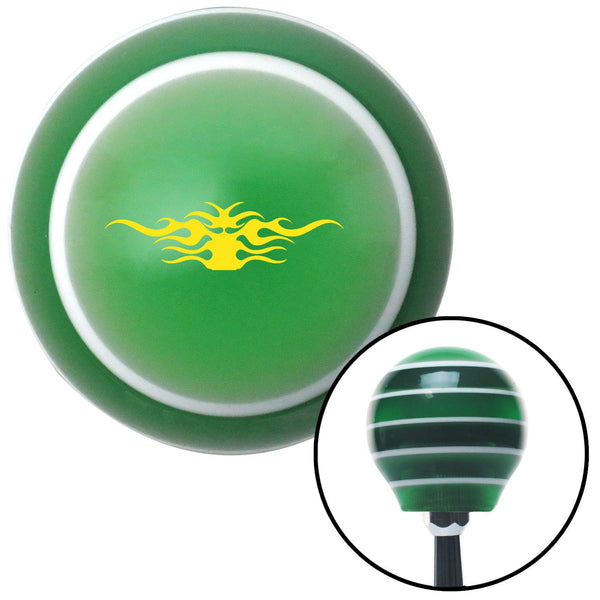Yellow Tribal Flames Green Stripe Shift Knob with M16 x 15 Insert - American Shifter - Dropship Direct Wholesale