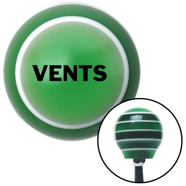 Black VENTS Green Stripe Shift Knob with M16 x 15 Insert - American Shifter - Dropship Direct Wholesale