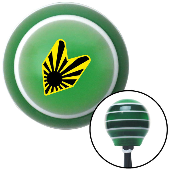 Caution Rising Sun Wakaba Leaf Green Stripe Shift Knob with M16 x 15 Insert - American Shifter - Dropship Direct Wholesale