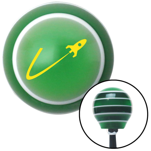 Yellow Space Ship In Flight Green Stripe Shift Knob with M16 x 15 Insert - American Shifter - Dropship Direct Wholesale