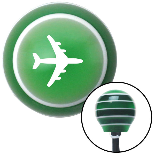 White Commercial Airplane Green Stripe Shift Knob with M16 x 15 Insert - American Shifter - Dropship Direct Wholesale