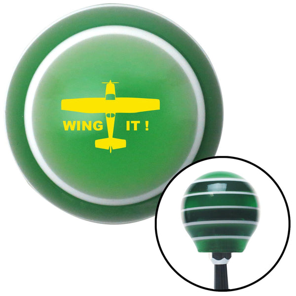 Yellow Wing It Green Stripe Shift Knob with M16 x 15 Insert - American Shifter - Dropship Direct Wholesale