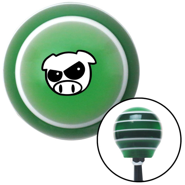 Black JDM Pig Face Green Stripe Shift Knob with M16 x 15 Insert - American Shifter - Dropship Direct Wholesale