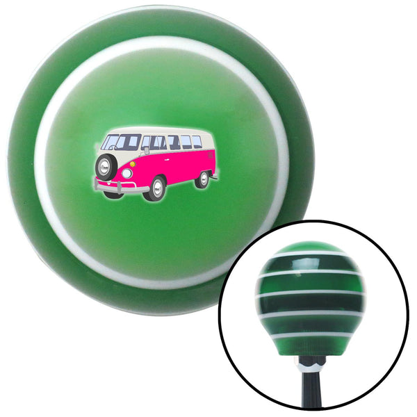Pink Camper Green Stripe Shift Knob with M16 x 15 Insert - American Shifter - Dropship Direct Wholesale