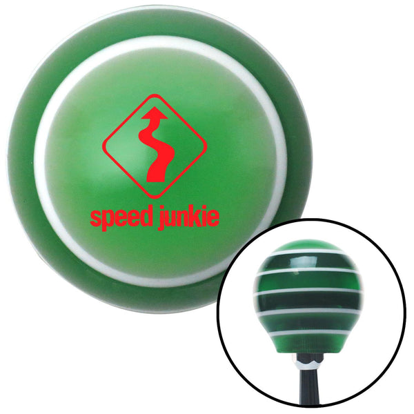 Red Speed Junkie Green Stripe Shift Knob with M16 x 15 Insert - American Shifter - Dropship Direct Wholesale