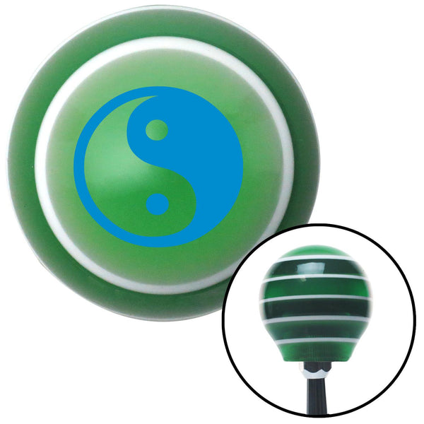 Blue Yin  Yang Green Stripe Shift Knob with M16 x 15 Insert - American Shifter - Dropship Direct Wholesale