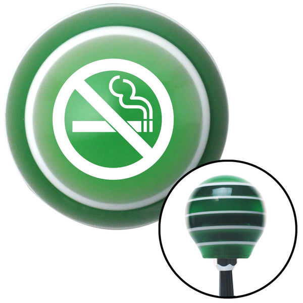 White No Smoking Green Stripe Shift Knob with M16 x 15 Insert - American Shifter - Dropship Direct Wholesale