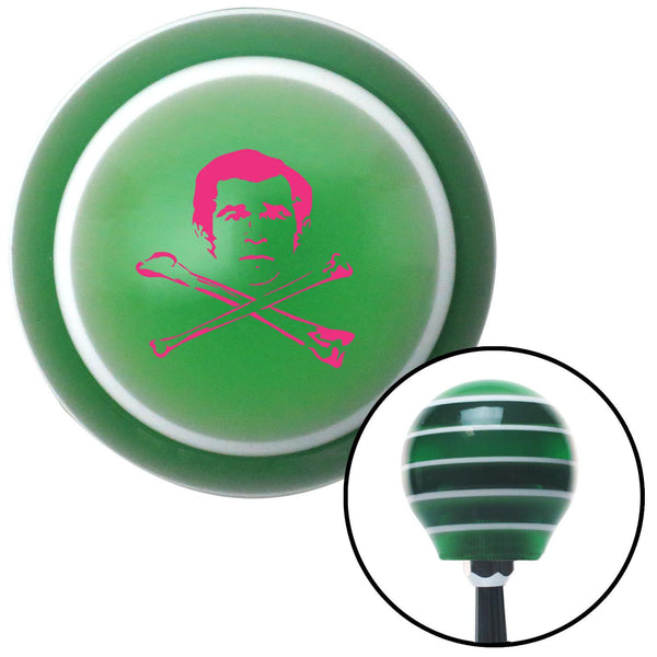 Pink Deaths Head Green Stripe Shift Knob with M16 x 15 Insert - American Shifter - Dropship Direct Wholesale