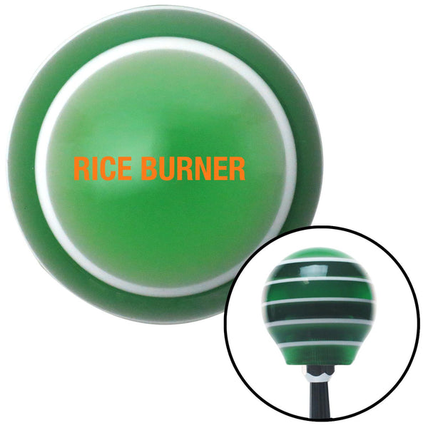 Orange Rice Burner Green Stripe Shift Knob with M16 x 15 Insert - American Shifter - Dropship Direct Wholesale