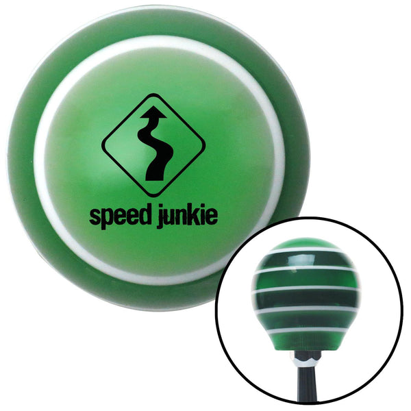 Black Speed Junkie Green Stripe Shift Knob with M16 x 15 Insert - American Shifter - Dropship Direct Wholesale