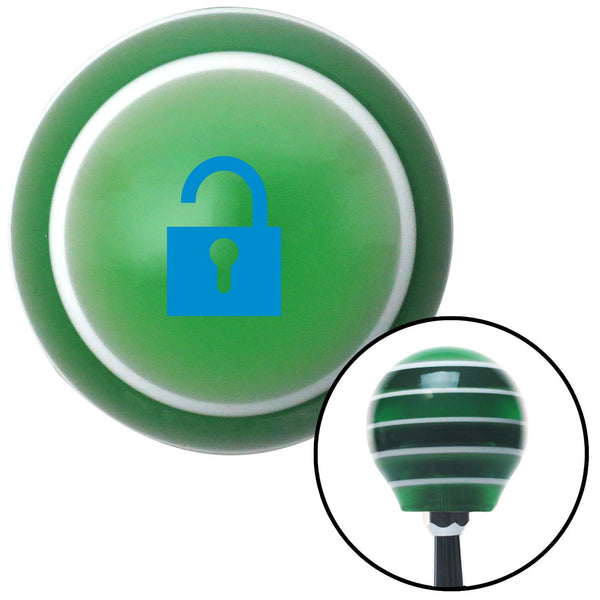Blue Unlocked Lock Green Stripe Shift Knob with M16 x 15 Insert - American Shifter - Dropship Direct Wholesale