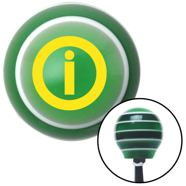 Yellow Info Green Stripe Shift Knob with M16 x 15 Insert - American Shifter - Dropship Direct Wholesale