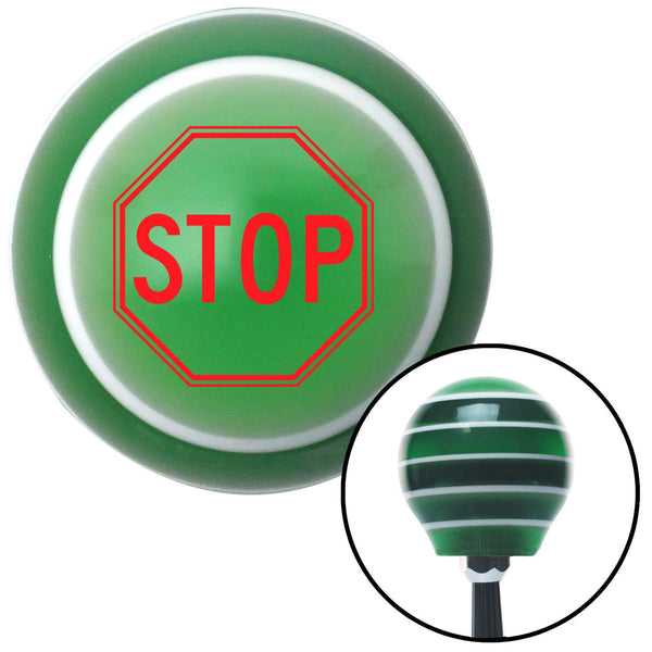 Red Stop Sign Green Stripe Shift Knob with M16 x 15 Insert - American Shifter - Dropship Direct Wholesale