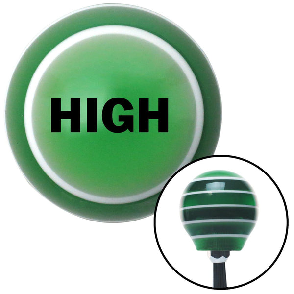 Black High Green Stripe Shift Knob with M16 x 15 Insert - American Shifter - Dropship Direct Wholesale