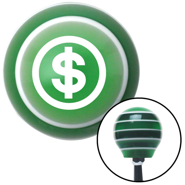 White Money Green Stripe Shift Knob with M16 x 15 Insert - American Shifter - Dropship Direct Wholesale