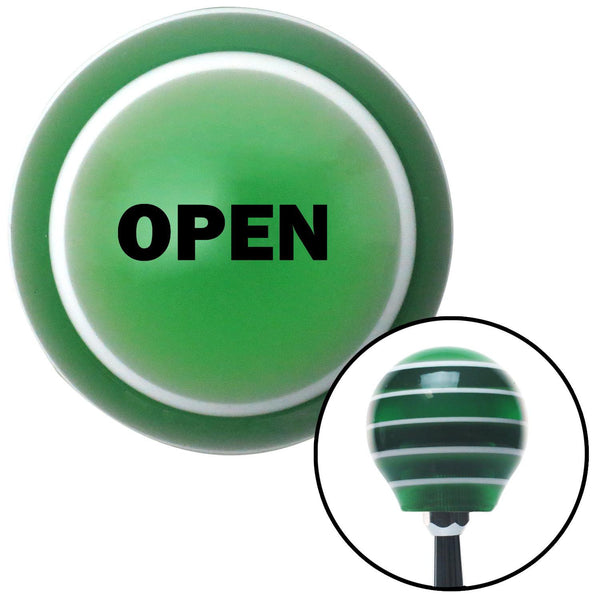 Black OPEN Green Stripe Shift Knob with M16 x 15 Insert - American Shifter - Dropship Direct Wholesale