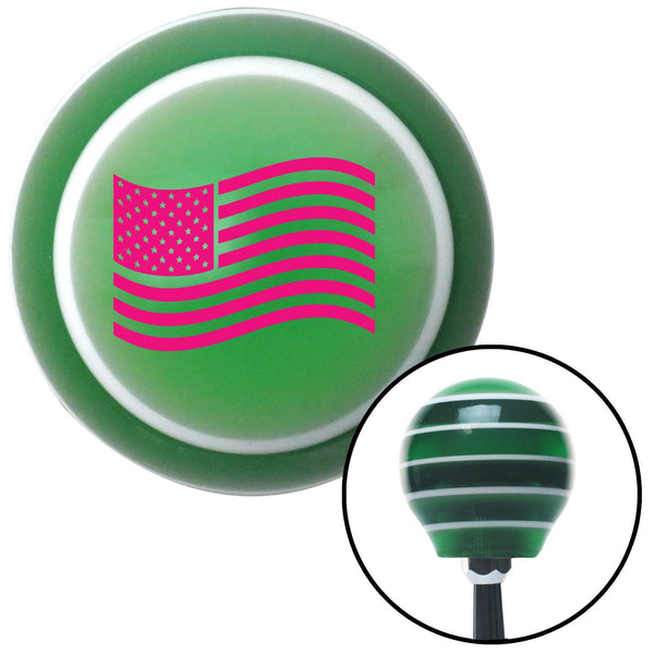 Pink US Flag Green Stripe Shift Knob with M16 x 15 Insert - American Shifter - Dropship Direct Wholesale