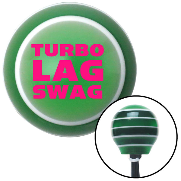 Pink Turbo Lag Swag Green Stripe Shift Knob with M16 x 15 Insert - American Shifter - Dropship Direct Wholesale