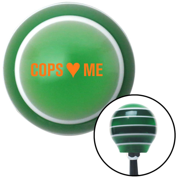 Orange Cops 3 Me Green Stripe Shift Knob with M16 x 15 Insert - American Shifter - Dropship Direct Wholesale